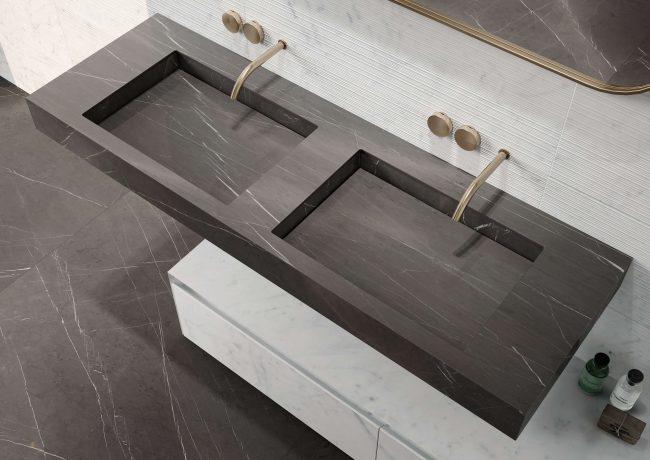aménagement plan de vasque en grès cérame style moderne dans une salle de bain minimaliste a Castelnau le lez
