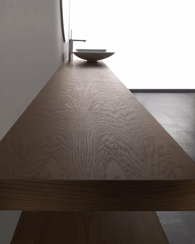 aménagement salle de bain plan vasque a poser bois céramique dans un appartement rénove de saint jean de vedas