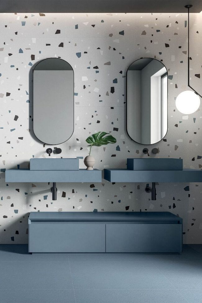 aménagement salle de bain tendance granito plan vasque a poser grès cérame bleu nouveauté a Lavérune
