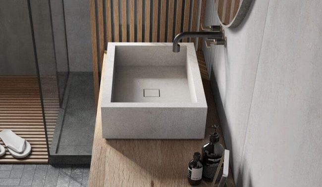 carrelage de la tour aménagement salle de bain meuble vasque grès cérame décoration salle d eau rénovation appartement Montpellier