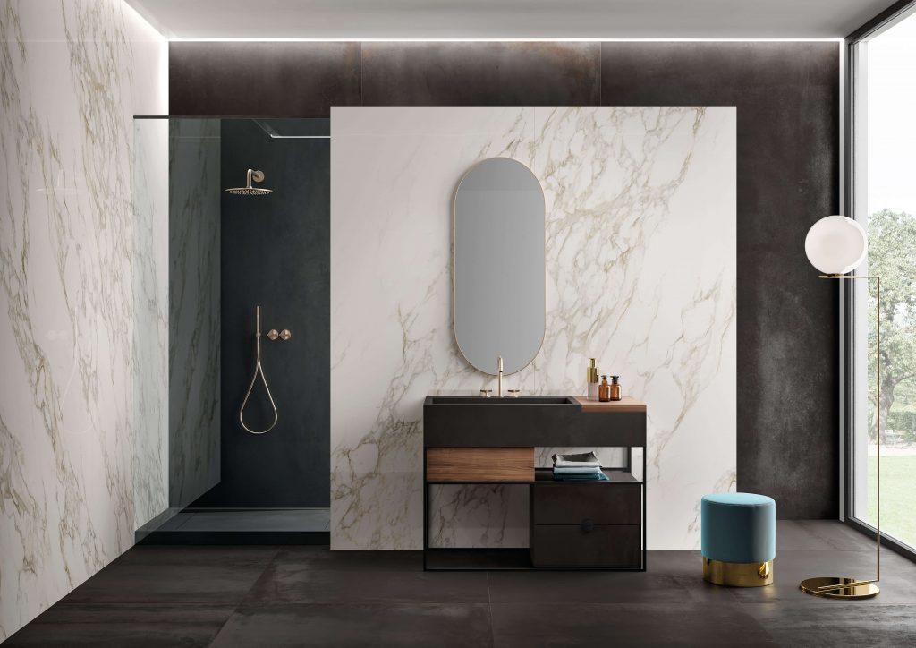 carrelage de la tour aménagement salle de bain salle d eau mobilier original tendance carrelage effet marbre effet béton tendance Sète
