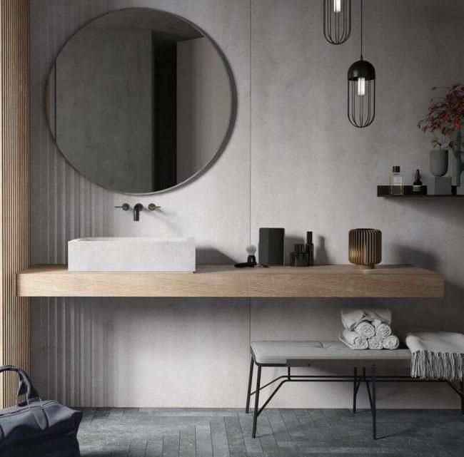 carrelage de la tour plan de vasque bois grès cérame tendance aménagement décoration salle de bain Lavérune