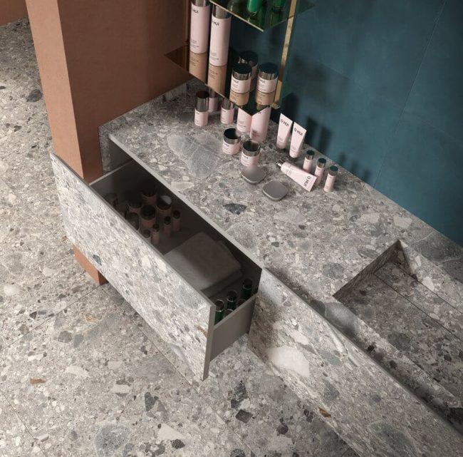 décoration aménagement salle d eau meuble assorti sol grès cérame effet pierre granitée meuble tiroirs dans une maison de Pérols