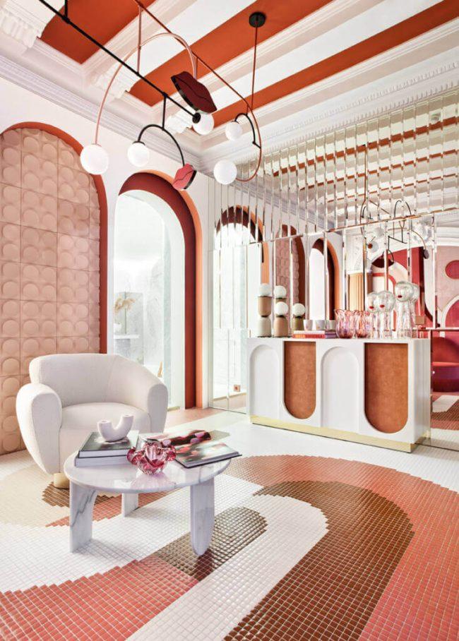 decoration et amenagement d une boutique ambiance terracotta avec de la mosaique