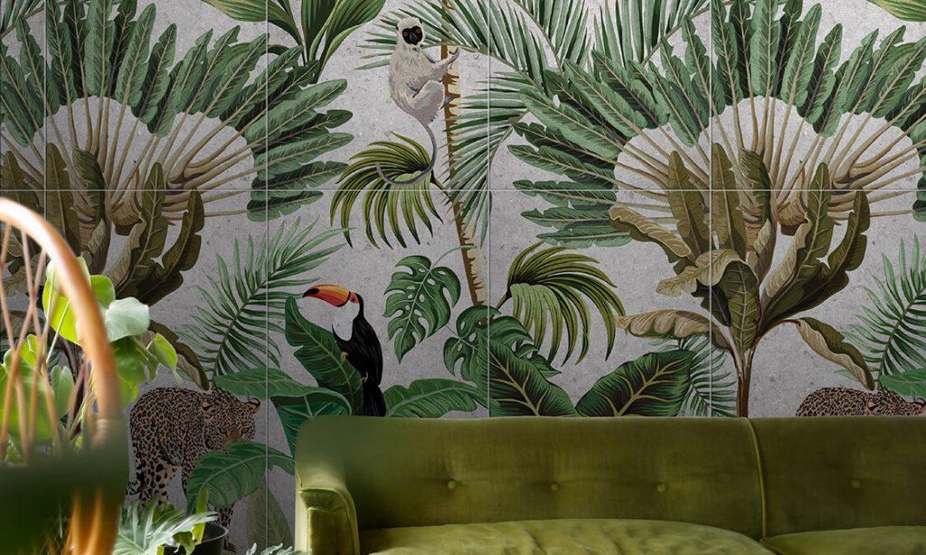 tendance carrelage effet papier peint panoramique jungle carrelage de la tour appartement montpellier