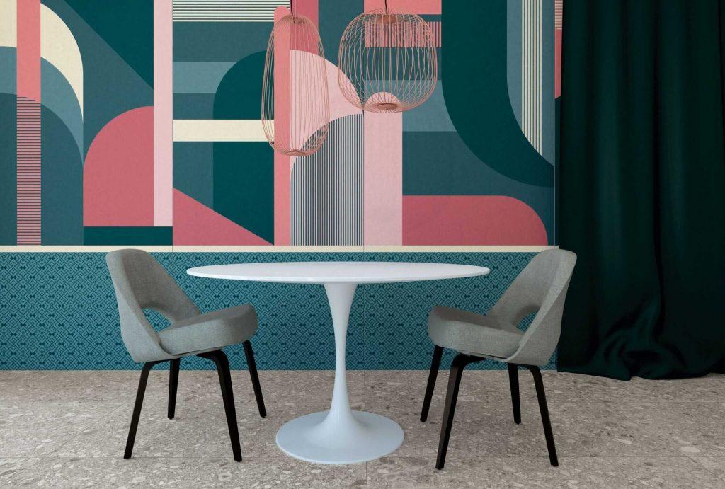 tendance carrelage mural effet papier peint panoramique decoration maison laverune