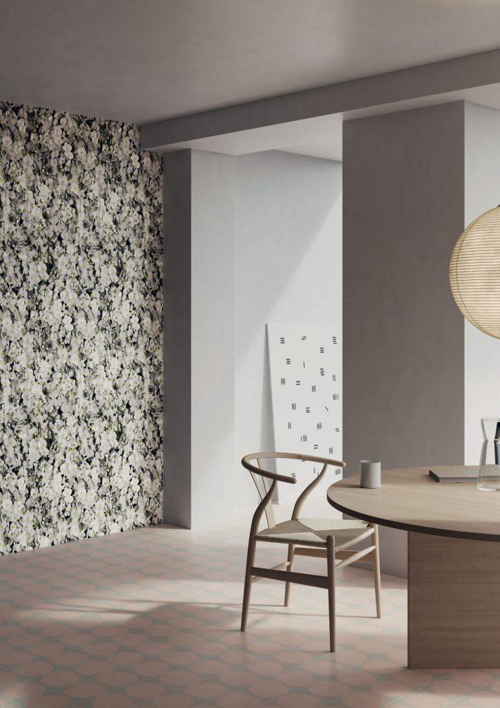 tendance carrelage mural effet papier peint panoramique decoration salle a amanger appartement saint jean de vedas