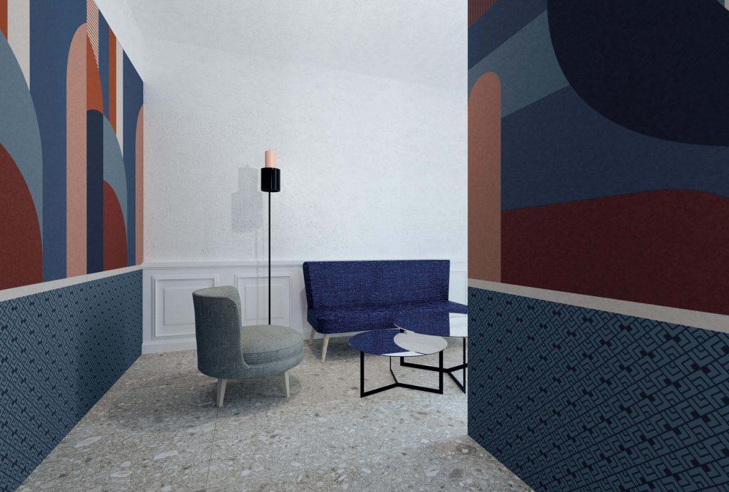 tendance carrelage mural effet papier peint panoramique showroom carrelage saint aunès