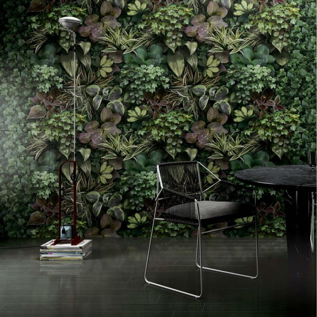 tendance carrelage mural effet papier peint vegetal appartement castelnau le lez