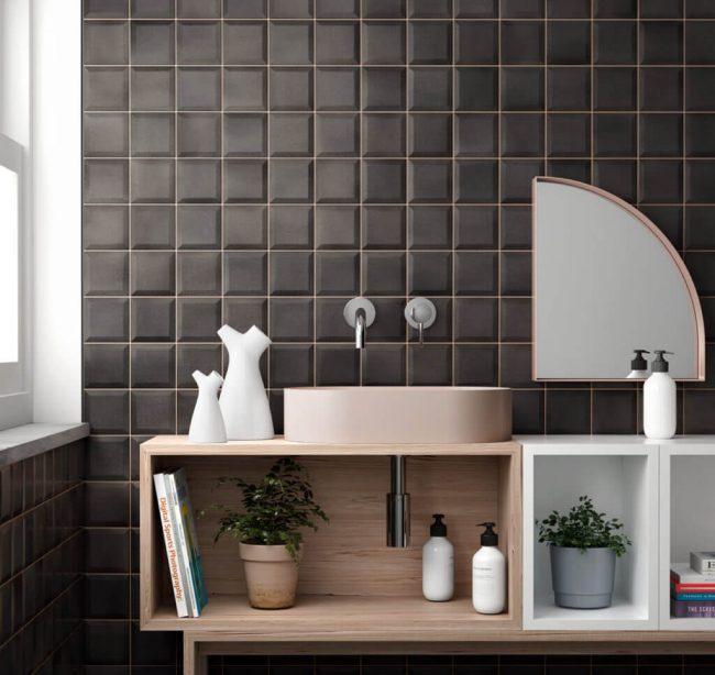carrelage de la tour montpellier carrelage mur 3D noir pour credence cuisine tendance