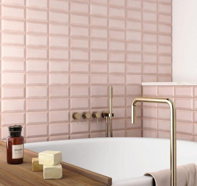 carrelage de la tour montpellier faience relief pour un mur de salle de bain tendance et pastel