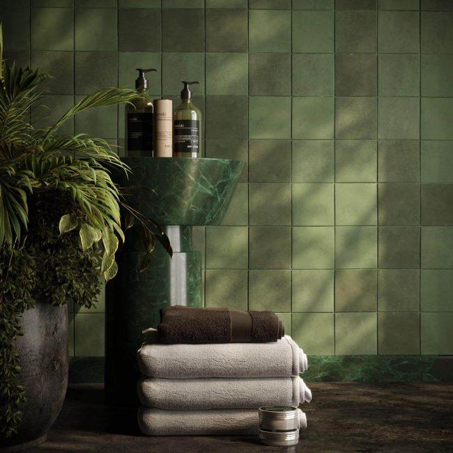 carrelage de la tour montpellier faience salle de bain zellige mat kaki pour tendance
