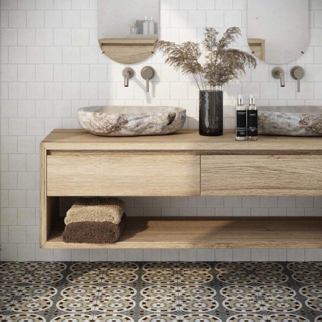 carrelage de la tour montpellier faience zellige mat et carrelage effet carreaux de ciment pour salle de bain tendance