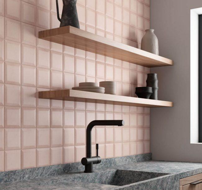 carrleage de la tour montpellier une crédence relief graphique rose pour une cuisine originales et tendance